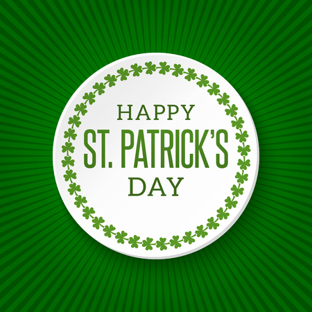 Saint Patricks Day Vector Background. Irish cultural and religious celebration on 17 March Three-leaved shamrock, clover, trefoil Green creative template for greeting card, poster, parade decoration Иллюстрация