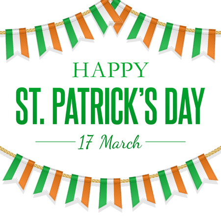St Patricks Day greeting card with Irish tricolour flags, hanging garland. Vector Background. National, cultural and religious celebration on 17 March. Creative template for poster, parade decoration. Иллюстрация