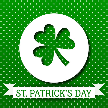 St Patricks Day greeting card. Vector Background. Irish cultural and religious celebration on 17 March. Three-leaved shamrock, clover, trefoil Green creative template for poster, parade decoration.