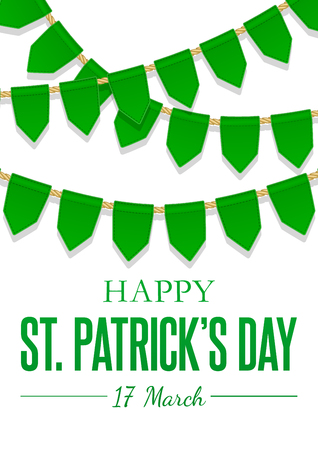 St Patricks Day greeting card with green flags, hanging garland. Vector Background. National, cultural and religious celebration on 17 March. Creative template for poster, parade decoration.