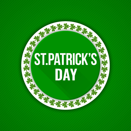 Saint Patricks Day Vector Background. Irish cultural and religious celebration on 17 March Three-leaved shamrock, clover, trefoil Green creative template for greeting card, poster, parade decoration Illustration