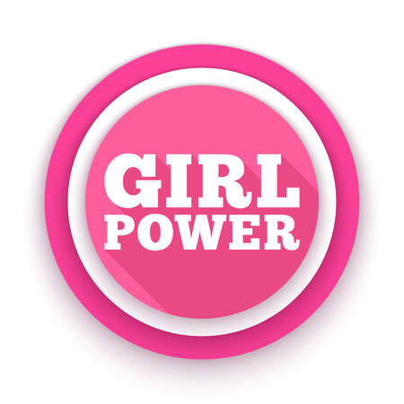 Girl Power text. Feminism, Womens rights movement. Slogan for girls empowerment and independence. Pink modern badge, vector illustration for t-shirt, poster, decoration for Feminists March. Illustration