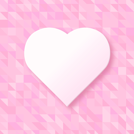Heart shape on a pink triangular background. Modern vector illustration for design. Creative poster, flyer template for decoration, special events, valentines day. Love and romance concept.