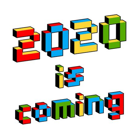 2020 is coming text in style of old 8-bit video games. Vibrant colorful 3D Pixel Letters. Creative digital New Year poster, flyer template for celebration. Holiday vector. Retro arcade screen