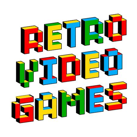 Retro video games text in style of old 8-bit games.