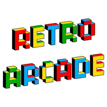 Retro arcade text in style of old 8-bit video games. Vibrant colorful 3D Pixel Letters. Creative digital vector poster, flyer template. Vintage platformer computer program screen Gaming concept.