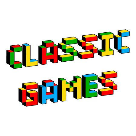 Classic games text in style of old 8-bit video games. Vibrant colorful 3D Pixel Letters. Creative digital vector poster template. Vintage arcade platformer computer program screen Gaming concept.