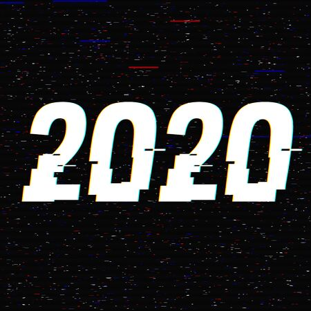 2020 glitch text in a frame. New Year concept. Anaglyph 3D effect. Technological retro background. Vector illustration. Creative web template Flyer, poster layout. Computer program, TV channel screen