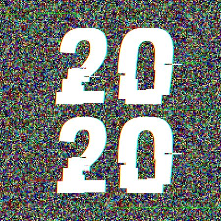 2020 glitch text in a frame. New Year concept. Anaglyph 3D effect. Technological retro background. Vector illustration. Creative web template. Flyer, poster layout. Computer program, TV channel screen