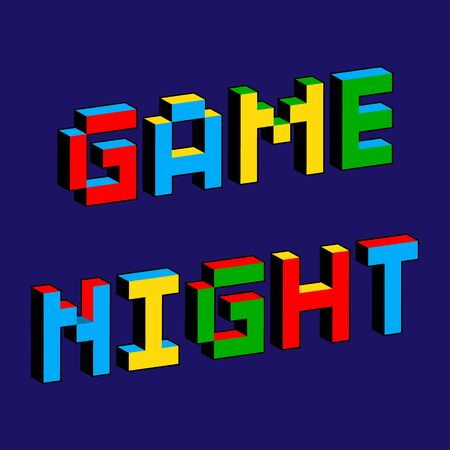 Game Night text in style of old 8-bit games. Vibrant colorful 3D Pixel Letters. Creative digital vector poster, flyer template. Vintage arcade platformer, computer program screen Gaming concept