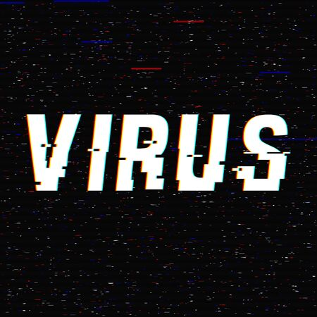 Virus vector glitch text. Stop Novel virus outbreak covid-19 2019-nCoV symptoms in  . Travel or vacantion warning  anaglyph 3D effect. Pandemic and epidemic flyer, poster layout