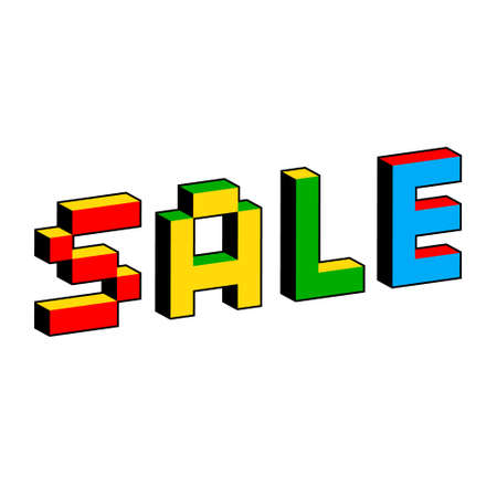 Sale text in style of old 8-bit games. Vibrant colorful 3D Pixel Letters. Creative digital vector illustration. Online shopping concept. Sale, e-commerce, retailing, discount theme. 일러스트