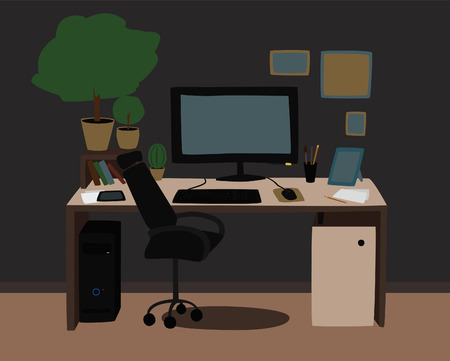 cosy: Cosy and productive workplace for a freelancer, business man, office worker. Vector illustration in modern cartoon flat design. Illustration
