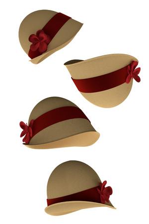Cloche Hüte (3d rendert isoliert auf weißem Hintergrund)