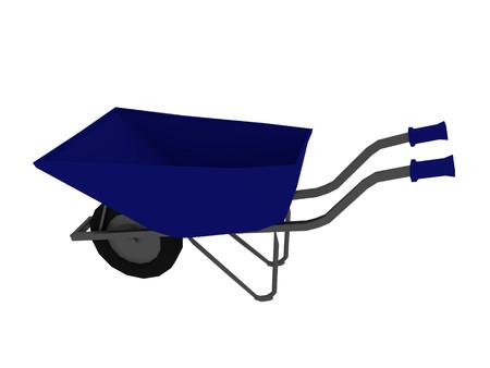 Blaue Schubkarre (niedriger Poly 3d render)