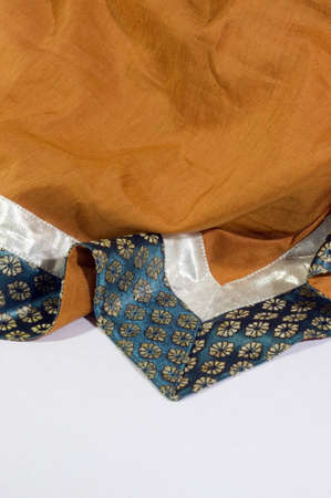 Detail and close-up of a draped colorfull Indian shawl photo