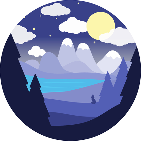 Flat round landscape.Night sky, blue river, mountains.Fox silhouette.