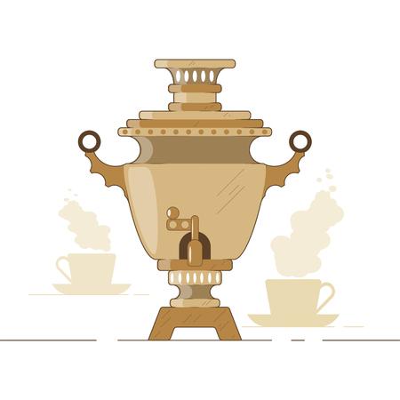 Vector illustration. Russian national samovar tea and waterboiler, teapot, kettle.