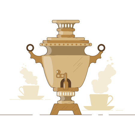 Vector illustration. Russian national samovar tea and waterboiler, teapot, kettle.