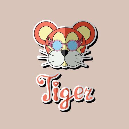 Tiger head sticker, flat icon. Tiger illustration logo design, tiger head vector icon. Ilustração