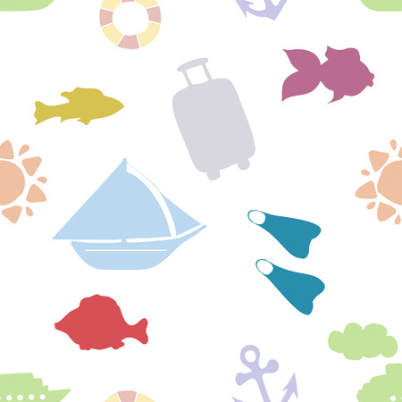 Childish seamless pattern with train, ship, steamer, plane, cloud, and Sun. Good for kids fabric, textile, nursery wallpaper. Pastel colors. Stock Vector - 124561913