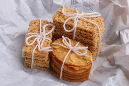 unwrapped: Stacks of cookies and wafers; just been unwrapped