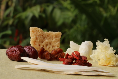 medley: Medley of traditional Chinese medicinal herb, fruits, and sweets