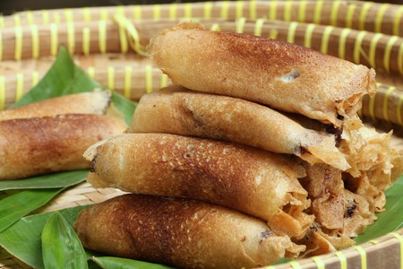 Serabi Solo, rolled pancakes from city of Solo in Central Java, Indonesia Stock Photo