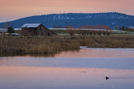 The beautiful sunset at the California countryside. The lake, duke, trees and the wood cabin