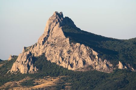 Kara Dag the mountain, Crimea. Evening light, telephoto photo