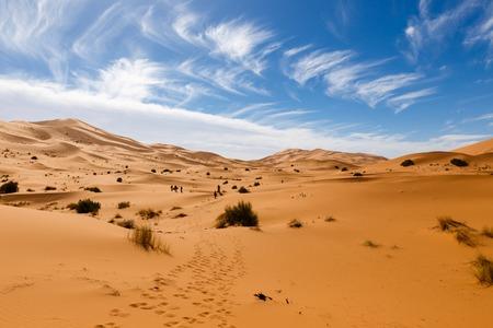 erg chebbi: dune erg Chebbi in the blue sky, Morocco Stock Photo