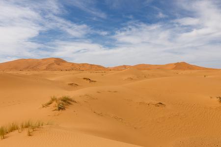 erg: dune erg Chebbi in the blue sky, Morocco Stock Photo