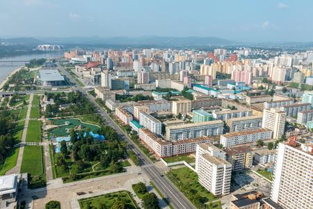 Luchtfoto van de stad in Pyongyang, Noord-Korea. Pyongyang is de hoofdstad van de Democratische Volksrepubliek Korea. Stockfoto