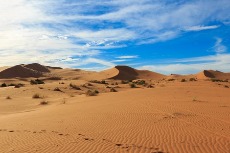 chebbi: dune erg Chebbi in the blue sky, Morocco Stock Photo