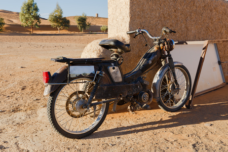 60s: Vintage 60s French Moped Or Scooter, sahara desert Morocco