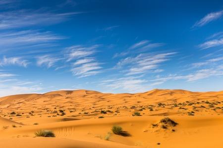 sand dune: dune erg Chebbi in the blue sky, Morocco Stock Photo