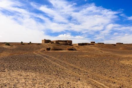 sahara: house Berber in the Sahara desert, Morocco Stock Photo