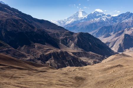 Mount Dhaulagiri and Tukuche Peak seen from Muktinath, Nepal. Stock Photo