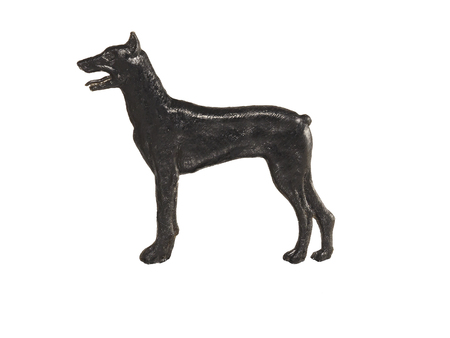 Black dog figure on white background, Doberman Pinscher Stock Photo
