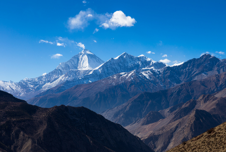 Mount Dhaulagiri and Tukuche Peak, Mountain landscape Nepal.