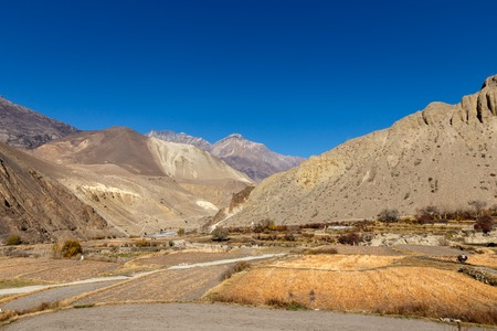View on Kagbeni village located in the valley of the Kali Gandaki River, Nepal