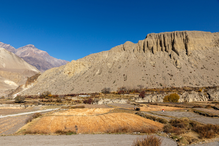 View on Kagbeni village located in the valley of the Kali Gandaki River, Nepal.