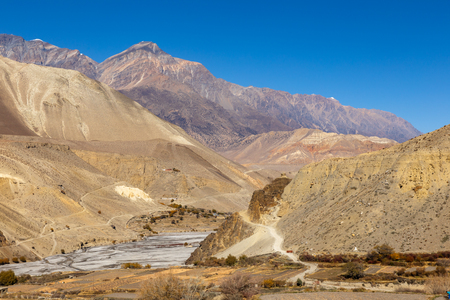 border between the lower and upper Mustang near the village of Kagbeni, Nepal Stock Photo