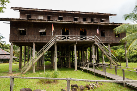 Traditional wooden houses Melanau Tall in the Kuching to Sarawak Culture village. Borneo Malaysia Stock Photo