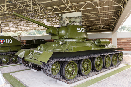 Pyongyang,North Korea-July 29, 2014: Museum of the Patriotic War. The T-34 tank, which participated in the Korean War.
