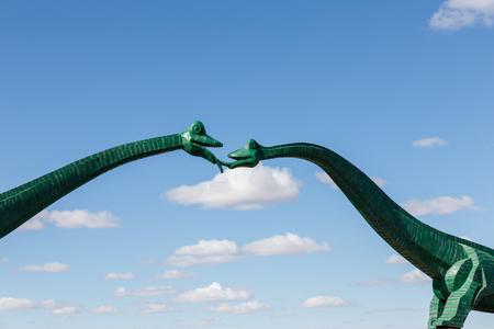 Kissing Sauropods bridge the road outside Erenhot, China