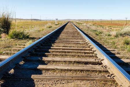 Transmongol Railway, single-track railway in steppe Mongolia 写真素材
