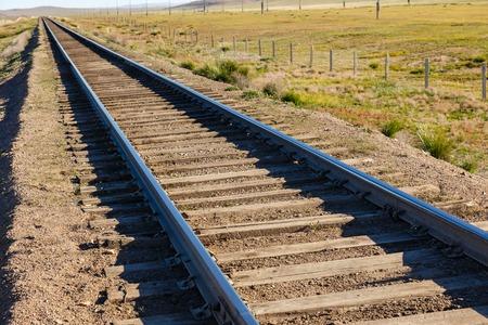 Transmongol Railway, single-track railway in steppe, Mongolia