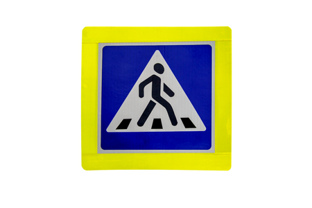 Pedestrian crossing, road sign isolated on white background.