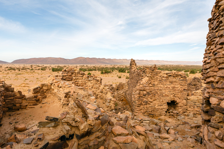 ruins of the ancient town Sahara desert, lost ghost town Ba HALLOU, Morocco. Stock Photo